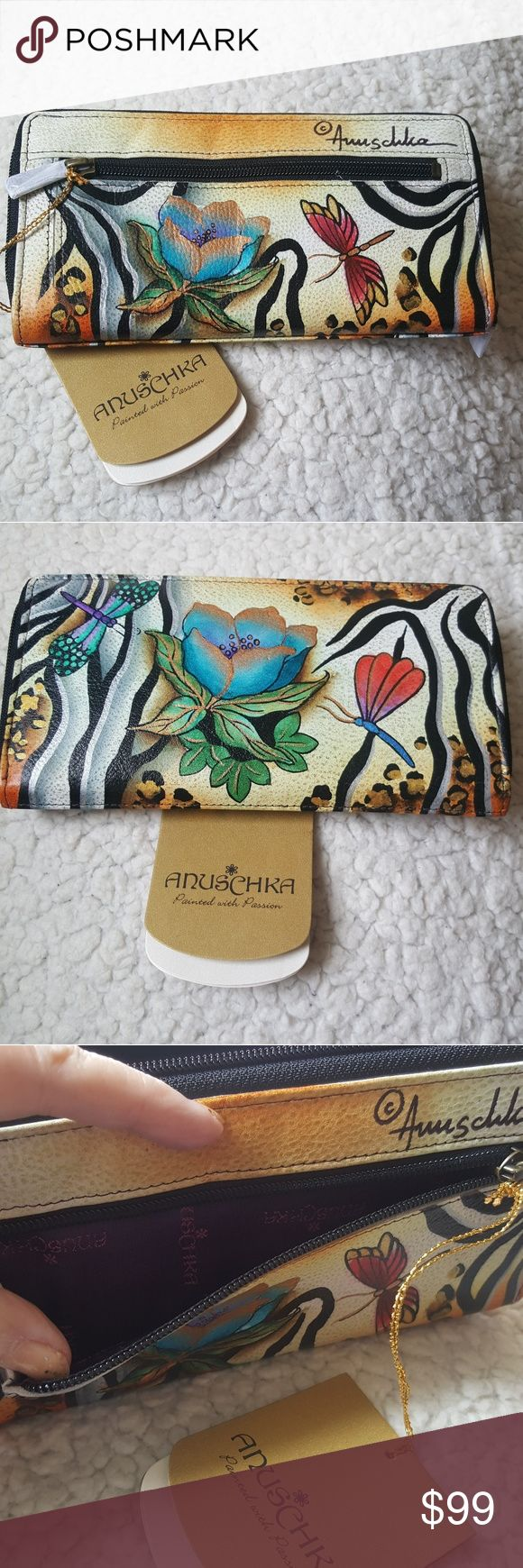NWT, ANUSCHKA ZEBRA GARDEN Wallet Hand painted leather, large bag / tote. Lots of organizations.... Look for matching handbad on another listing on posh... Bags Wallets