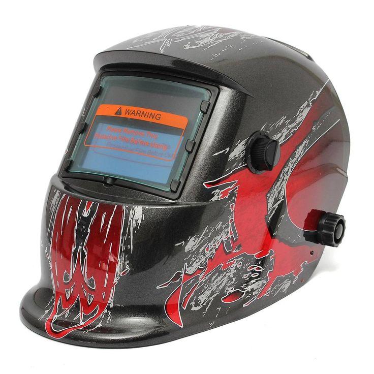 Red and Black Solar Auto Darkening Welding Grinding Helmet Welder ARC TIG MIG Mask