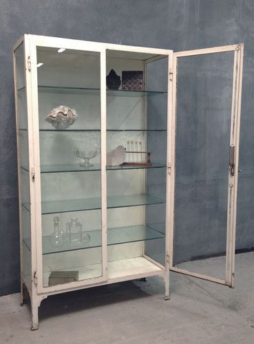 Antique vintage 1920's steel glass display haberdashery kitchen medical cabinet | eBay