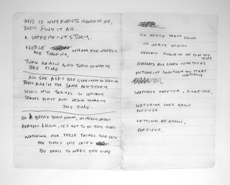 "Handwritten lyrics for ""Ceremony"" by Ian Curtis. Performed by Joy Division and New Order."