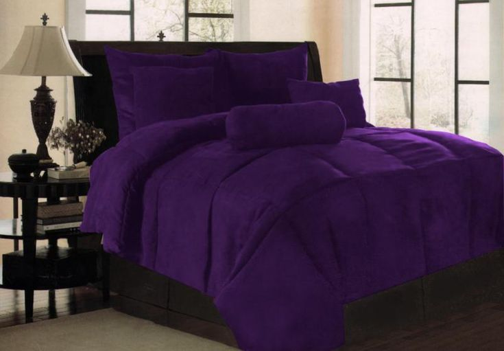 new solid purple micro suede bedding comforter set king purple comforter comforter and ebay. Black Bedroom Furniture Sets. Home Design Ideas