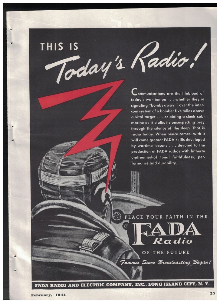 Airplane Pilot - This Is Today's Radio in 1944 FADA Radio World War II Ad #FADARadioElectricCo
