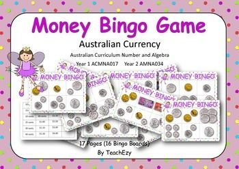 Money Bingo game all ready to go. Just print out and play. Can be laminated.Australian Curriculum Number and AlgebraYear 1 ACMNA017Year 2 AMNA034Please download preview to see full resource before purchase.
