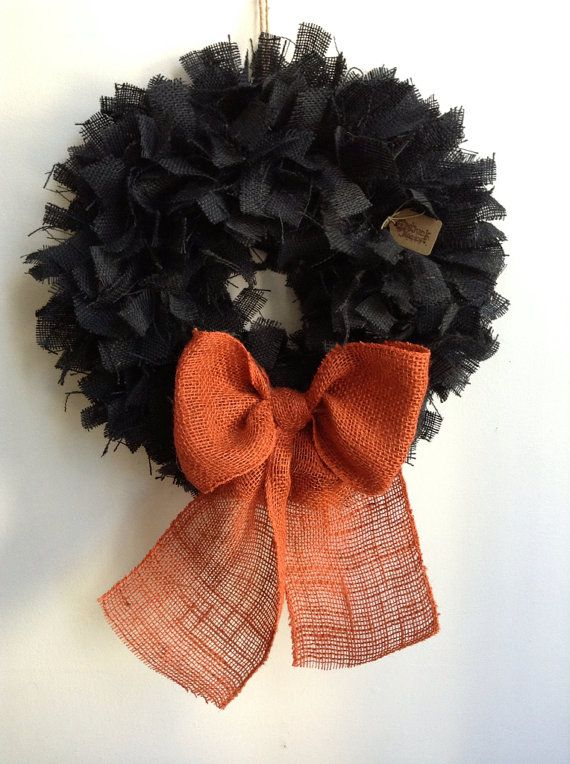Burlap Halloween Wreath Black Wreath Fall Wreath by JBJunkMarket, $45.00