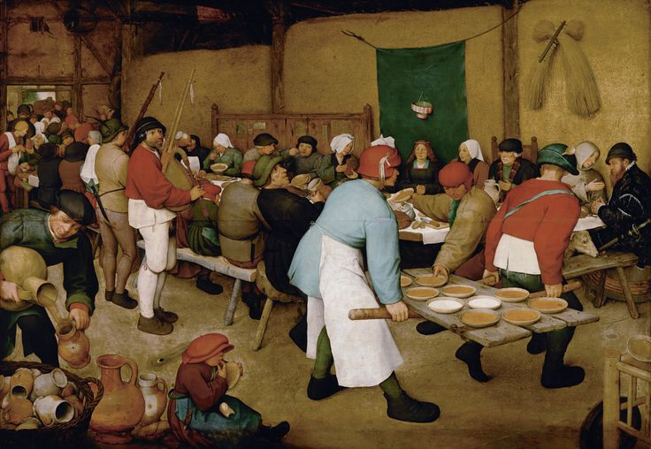 Pieter Bruegel the Elder - The Peasant Wedding, 1567. The bride is under the canopy. According to contemporary custom, the groom is not seated at the table but may be the man pouring out beer. The feast is in a barn in the spring time; two ears of corn with a rake remind us of the work that harvesting involves, and the hard life peasants have. The plates are carried on a door off its hinges. The main food was bread, porridge and soup.