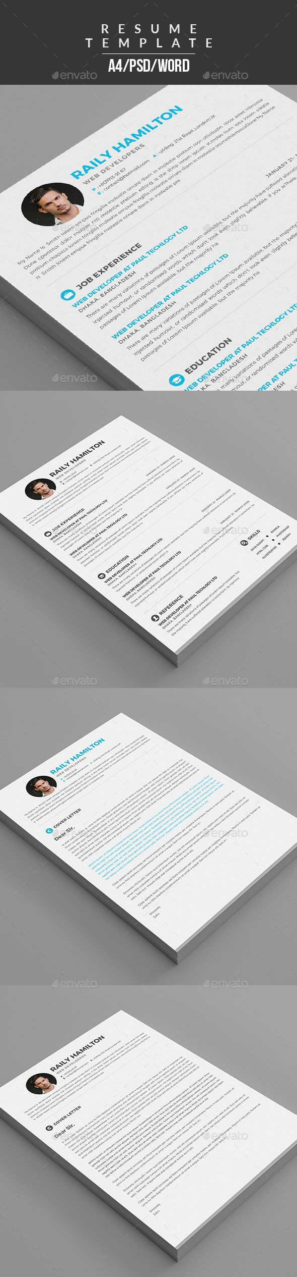 Resume & Cover Letter Template PSD, ...