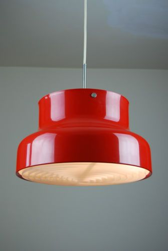 Vintage 70's Danish Modern,  BUMLING Lamp designed by; ANDERS PEHRSSON  for; Atelje Lyktan Ahus, Sweden... lacquered aluminum... clever design directs light downward w/ grid for even distribution ..
