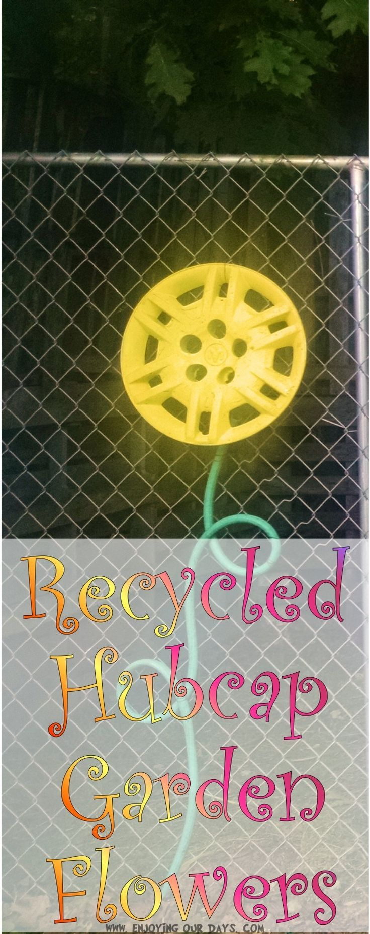 These recycled hubcap garden flowers are an easy way to add color and character to your yard. They are a quick garden art or yard art project that can be completed in an afternoon. via @jenniferspears9