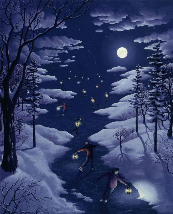 A River in the Snow ~ The moon peaks through parting clouds on those with lanterns.