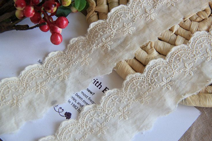 CL015 Free Shipping 15 yds/lot 5CM Wide Handmade DIY 100% Cotton Vintage Beige Embroidery Dyeable Cotton Lace Trim $17.80