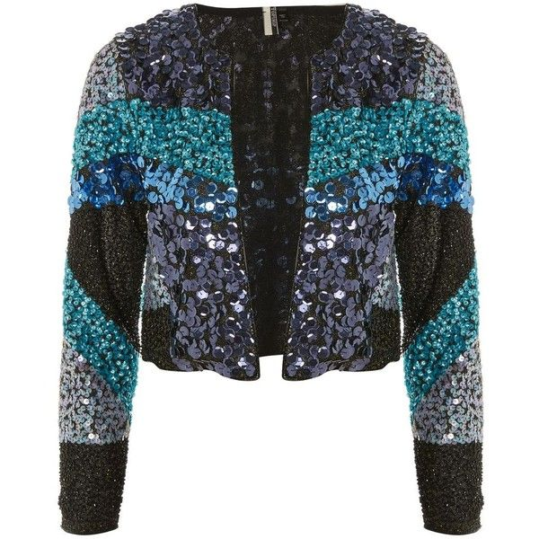 Topshop Colour Block Sequin Jacket ($74) ❤ liked on Polyvore featuring outerwear, jackets, topshop, blue, cocktail jacket, topshop jackets, block jacket, color block jacket and blue bandeau top