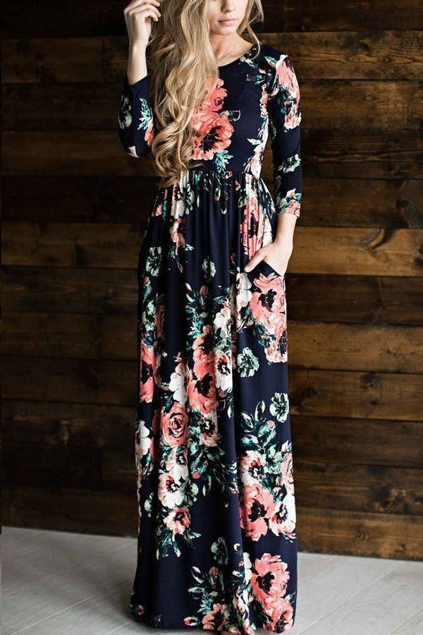 35712b80adc Round Neck Floral Printed Maxi Dresses in 2019 | Dresses Every Occasion | Maxi  dress with sleeves, Blue floral maxi dress, Floral print maxi dress