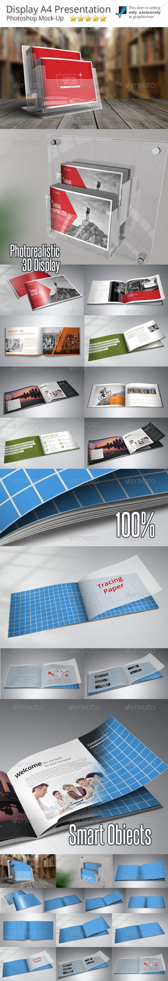 Horizontal Brochure MockUp — Photoshop PSD #catalog mockup #brochure