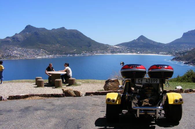 Chapmans Peak Sunset Trike Tour from Cape Town A romantic trike tour to one of the most scenic marine drives in the world. Treat that special person in your life with this unforgettable tour that starts at the V&A Waterfront and works its way to Hout Bay via the Atlantic Seaboard.This tour is for the special person in your life. Collection at the V&A Waterfront approx. 2 hours before sunset. Travel on a state of the art trike along the Atlantic Seabord to Hout Bay harb...