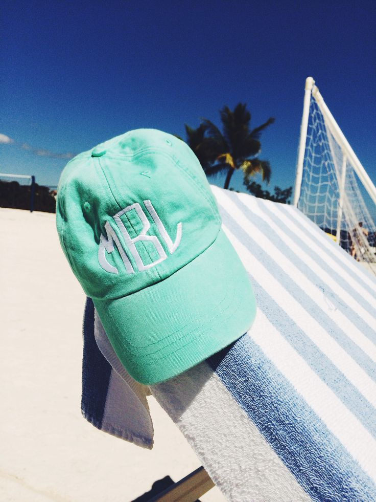 Super cute summer monogram hat for the beach or just a day out on campus grounds.