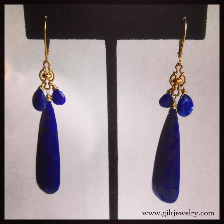 14k Art Nouveau bits & modern lapis lazuli earrings by Portland, OR artist Brunet.