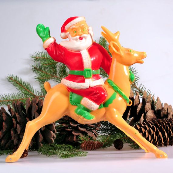 Santa Claus on Reindeer Rosbro 1950s Candy by ReflectRethinkReuse