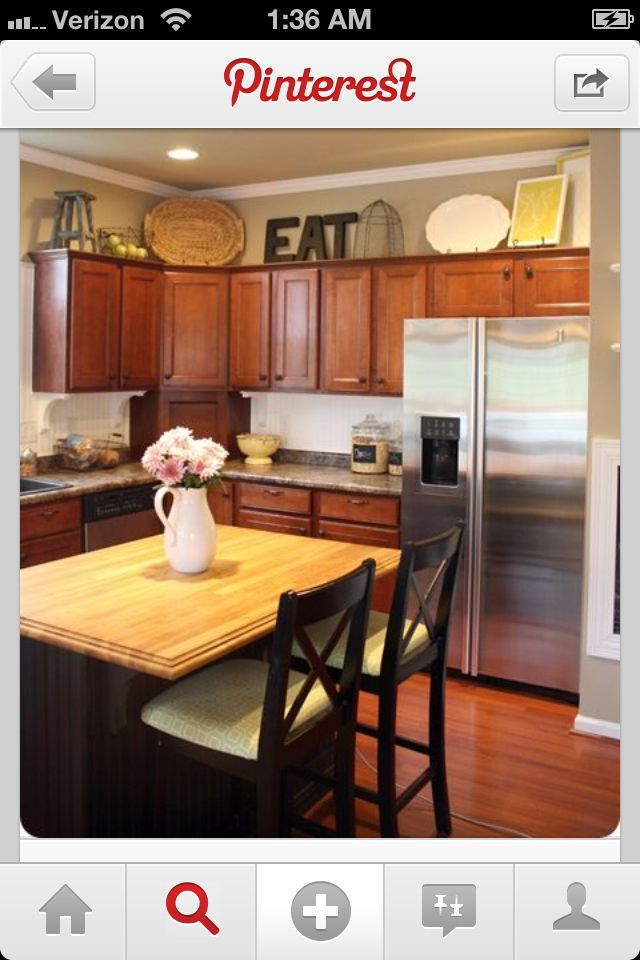 17 best images about kitchen decor diy on pinterest for Decorate above kitchen cabinets ideas