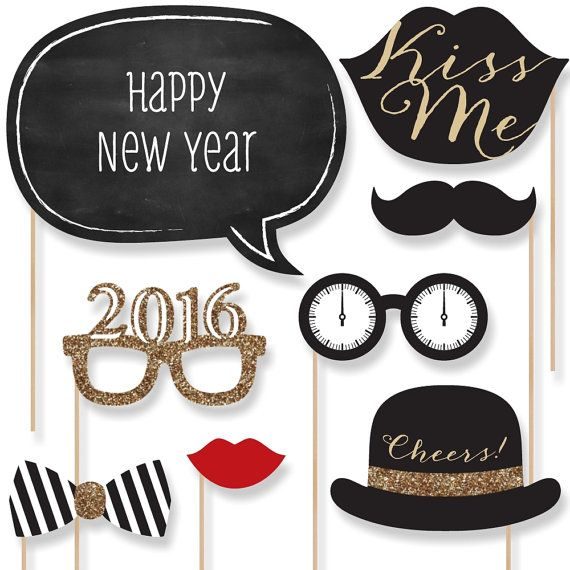 Asked seller about custom colors. 20 pc. Happy New Years Party - 2016 Gold Photo Booth Props - Party Kit with Mustache, Hat, Bow Tie, Glasses and Custom Talk Bubble