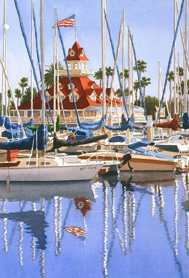 Mary Helmreich   WATERCOLOR    Del Coronado Boathouse Painting