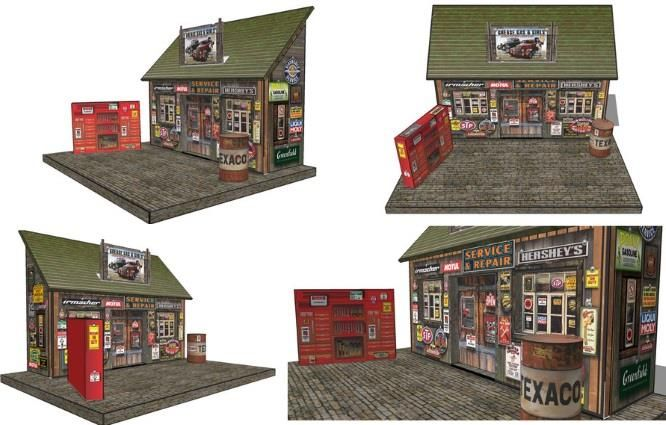 Papermau Service Station Diorama Paper Model In 1 43 Scale By Ovidiuart Paper Models House In The Woods Danish House