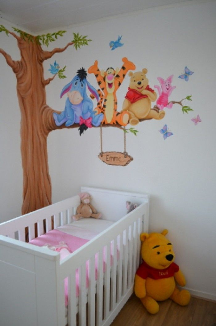 Winnie de poeh muurschildering met naambordje gemaakt - Winnie pooh babyzimmer ...