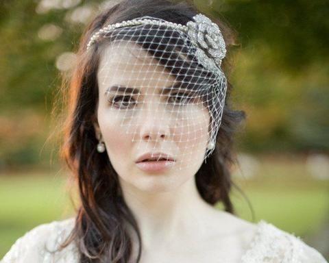 Birdcage Veils & Fascinators - Birdcage Veil, Vintage Style Pearl Floral Headband, Elaine
