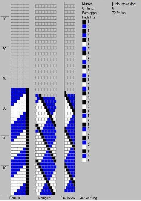 Schlauchketten häkeln - Musterbibliothek: blauweiss_jk