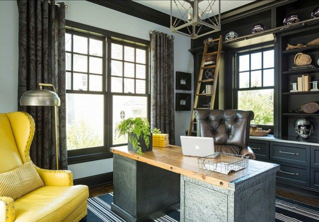 """<home Office> #Masculine home Office #Office Paint Color is """"Metallic Silver 2132-60 by Benjamin Moore"""". http://www.jexshop.com/"""