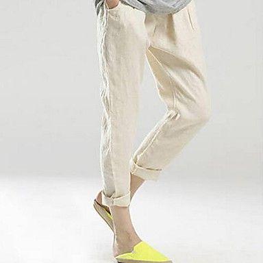 De las mujeres elásticos de la cintura de lino Harlan Ocio Pantalones    – USD $ 24.49