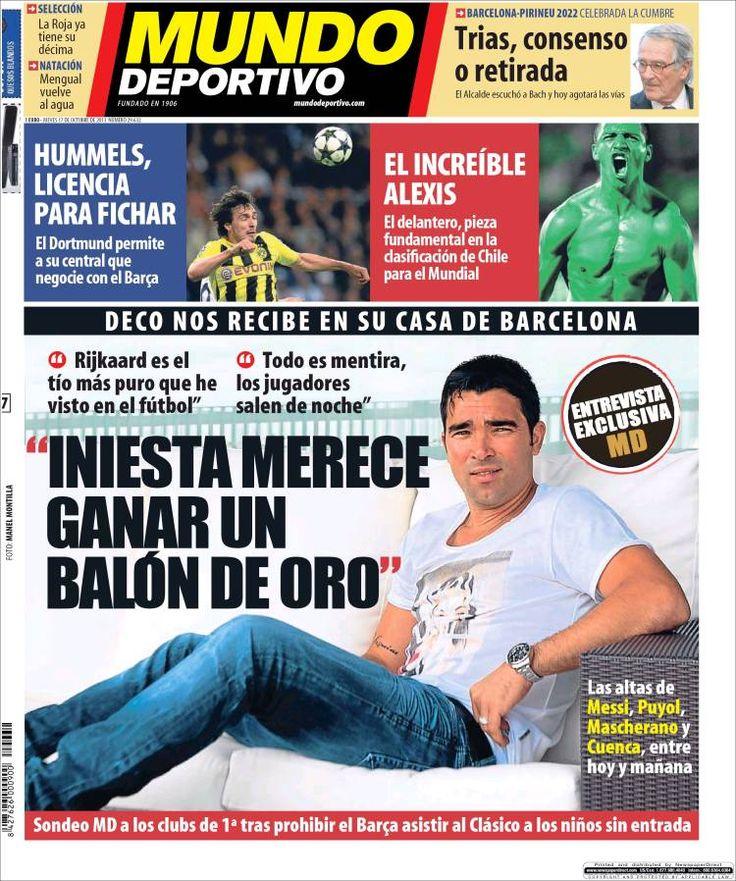 Los Titulares y Portadas de Noticias Destacadas Españolas del 17 de Octubre de 2013 del Diario Mundo Deportivo ¿Que le pareció esta Portada de este Diario Español?