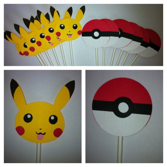 12 Pokemon Theme Cupcake toppers