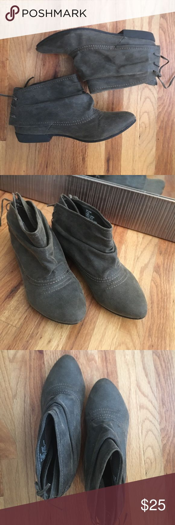Big Buddha booties! Brown/grey, flat booties with semi pointed toe. Causal and comfy. Big Buddha Shoes Ankle Boots & Booties