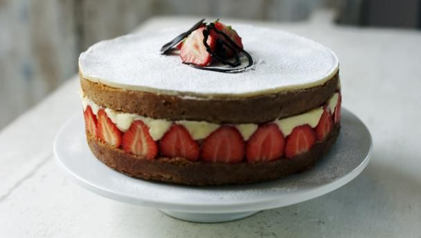 Fraisier cake        An incredibly pretty French cake filled with delicious strawberries and crème pâtissière. Tricky to achieve but certain to impress.