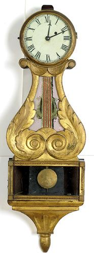 Banjo wall clock.  Unsigned, but probably by Abel Chandler, Concord, New Hampshire, circa 1825.