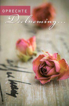 Met oprechte deelneming       Condoleancekaart  met een roos.