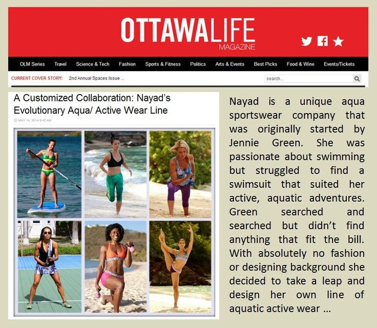 Nice write up in Ottawa Life ... http://www.ottawalife.com/2014/05/a-customized-collaboration-nayads-evolutionary-aqua-active-wear-line/