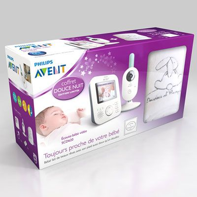 Coffret babyphone video scd620/01 + plaid doudou et compagnie offert Avent-philips