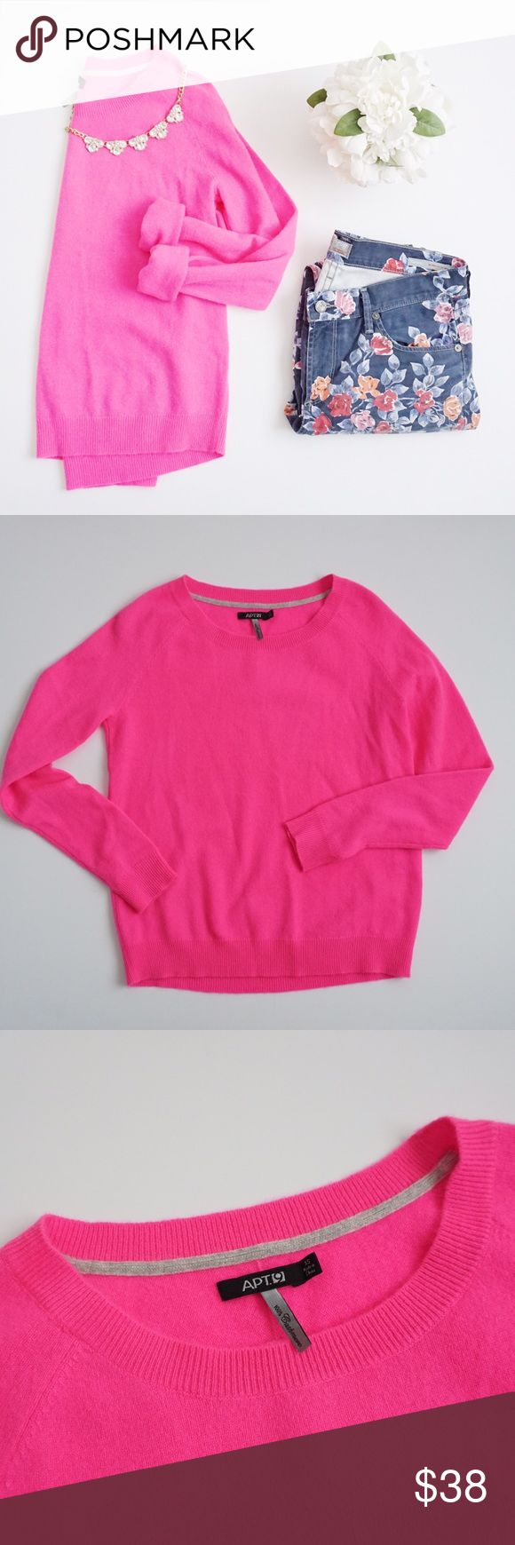 Apt. 9 100% Cashmere Pink Sweater Apt. 9 100% cashmere hot pink sweater size XS. 23 inches long, 17 inch bust. No stains or holes. Apt. 9 Sweaters Crew & Scoop Necks
