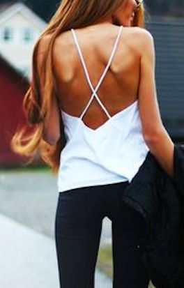 Low back thin strap white top fashion - STYLE DECORUM http://www.styledecorum.com/