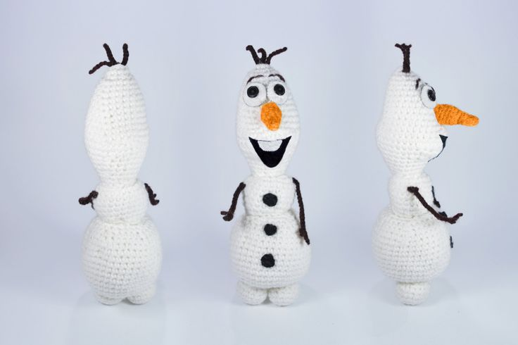 "Olaf the Snowman amigurumi crochet toy, great for birthday gift or baby shower. Created by ""Hedgehog - Amigurumi & Crafts""."