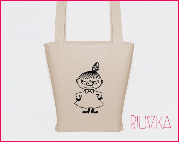 Little my bag moomins tote bag cotton tote canvas bag by RIUSZKA