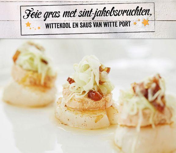 Foie gras met sint-jakobsvruchten, wittekool en saus van witte port