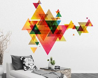 Colored Triangles Mid Century Modern Danish by HomeArtStickers