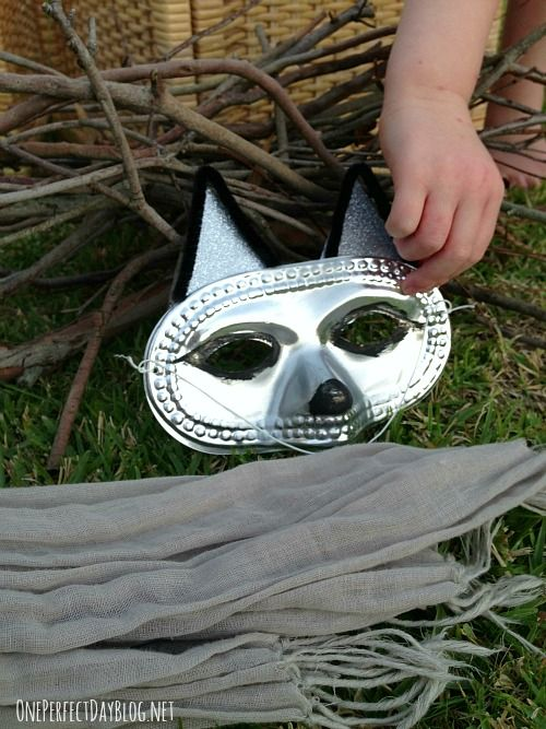 This mask is a bit scary, but make happy masks and use scarves and simple props to wear and play out the main character in a story, or invite the children if they wish to wear a costume and participate as you tell the story.