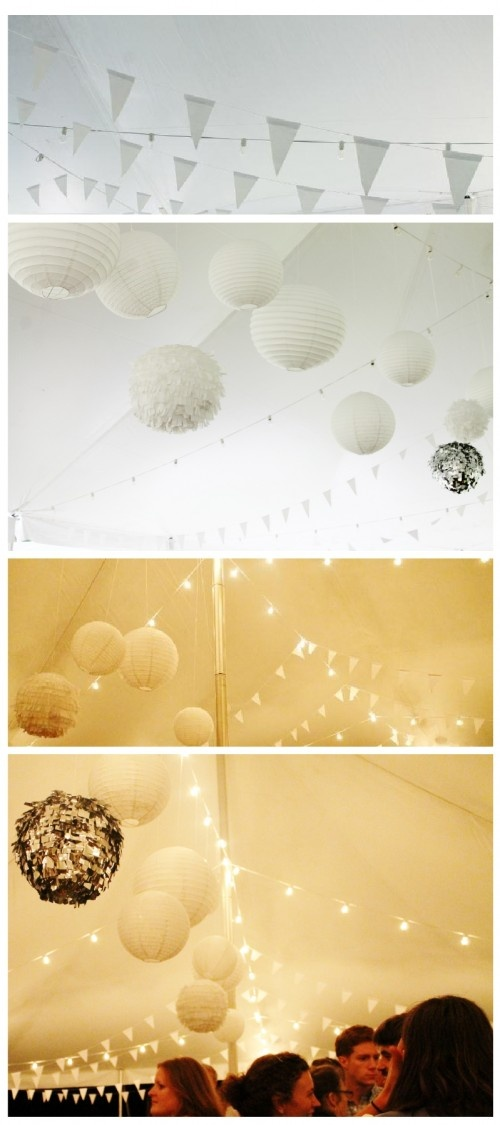 the tent ceiling! And shiny decorative balls..Love.