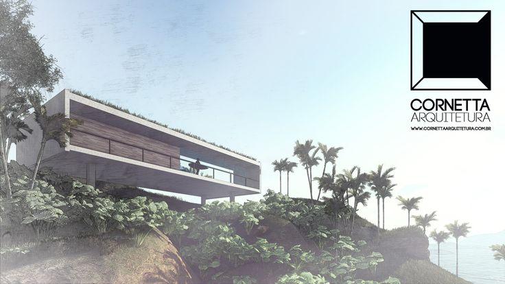 Projeto para casa de praia pré-fabricada utilizando pré-moldados de concreto e teto jardim. Obras começam em 2018. #cornetta #arquitetura #casasdepraia #casasdecampo #ubatuba #casasmodernas