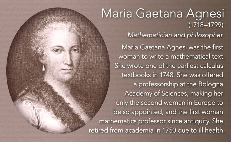 Maria Gaetana Agnesi(1718–1799) Mathematician and philosopher  Maria Gaetana Agnesi was the first woman to write a mathematical text. She wrote one of the earliest calculus textbooks in 1748. She was offered a professorship at the Bologna Academy of...