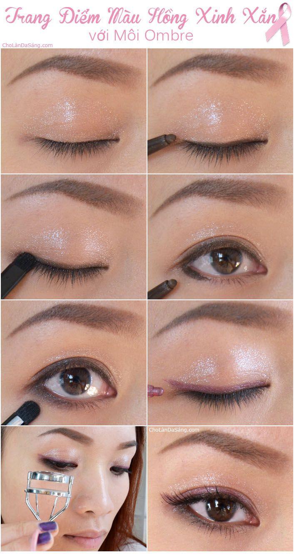 Hướng Dẫn Trang Điểm Màu Hồng Xinh Xắn Với Môi Ombre. Làm sao trang điểm mắt #lamdep #trangdiem #bbloggers #beautyblogger #huongdantrangdiem