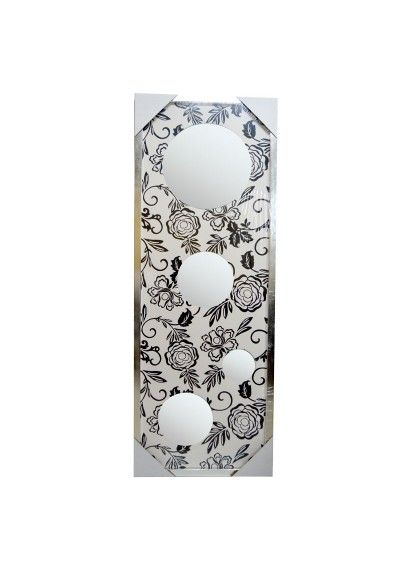 Espejo con marco de madera color plata, con fondo de color blanco con flores de color negro. Posibilidad de colocar tanto en horizontal como en vertical. Medidas 156 x 57 cm.  Ideal para tu salón, entrada, comedor, comercio...